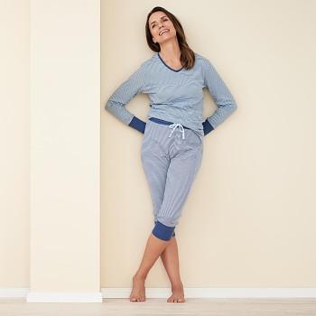 ELENA dámské pyžamové 3/4 kalhoty ze 100% biobavlny - světle modrá