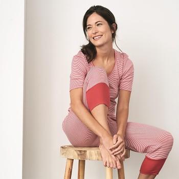 ELENA dámské pyžamové 3/4 kalhoty ze 100% biobavlny - červený proužek