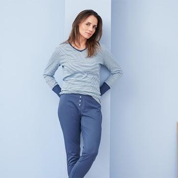 BEATRIX dámský pyžamový top s dlouhými rukávy ze 100% biobavlny - světle modrá