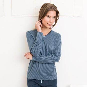 BEATRIX dámský pyžamový top s dlouhými rukávy ze 100% biobavlny - tmavě modrý proužek
