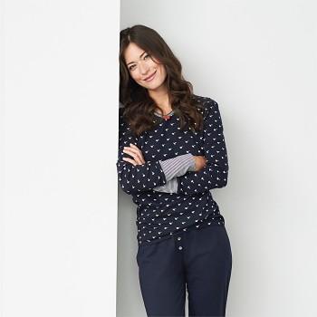 BEATRIX dámský pyžamový top s dlouhými rukávy ze 100% biobavlny - tmavě modrá birds