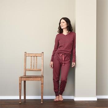 BEATRIX dámský pyžamový top s dlouhými rukávy ze 100% biobavlny - červená barolo proužek