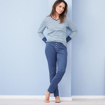 CAROL dámské pyžamové kalhoty ze 100% biobavlny - modrá twilight