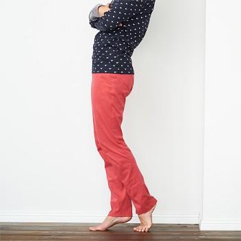 CAROL dámské pyžamové kalhoty ze 100% biobavlny - červená poppy