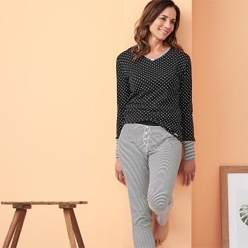 CAROL dámské pyžamové kalhoty ze 100% biobavlny - černý proužek