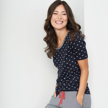 ELAINE dámský pyžamový top s kátkými rukávy ze 100% biobavlny - tmavě modrá birds