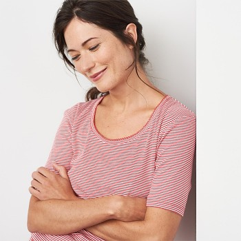 ELAINE dámský pyžamový top s kátkými rukávy ze 100% biobavlny - červený proužek