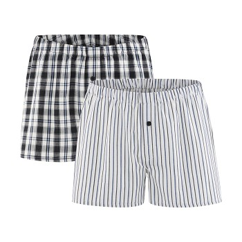 GREGOR pánské boxerky ze 100% biobavlny - černá/bílá (2 ks)