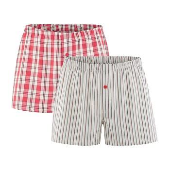 GREGOR pánské boxerky ze 100% biobavlny - červená/přírodní (2 ks)