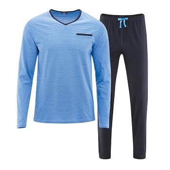 COLIN pánské pyžamo pyžamo ze 100% biobavlny - modrá navy/azur