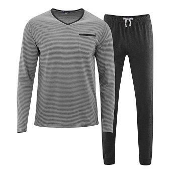 COLIN pánské pyžamo pyžamo ze 100% biobavlny - šedá stone/antracit