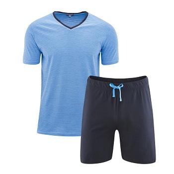 CARL pánské pyžamo pyžamo ze 100% biobavlny - modrá navy/azur
