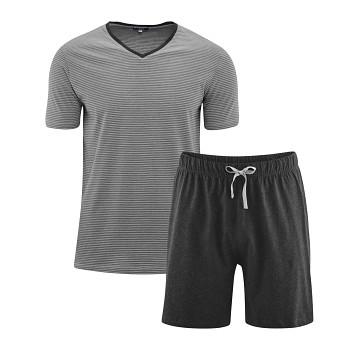 CARL pánské pyžamo pyžamo ze 100% biobavlny - šedá stone/antracit