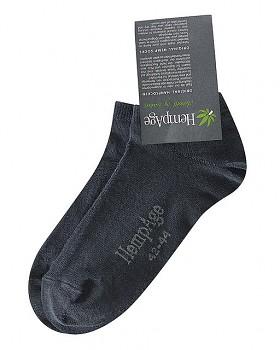 Kotníkové ponožky z konopí a biobavlny - černá