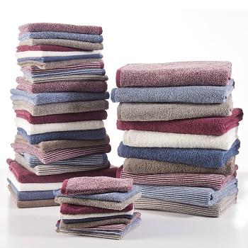 BARCELONA ručník pro hosty ze 100% biobavlny 30x50cm - proužek - přírodní, modrá, fialová