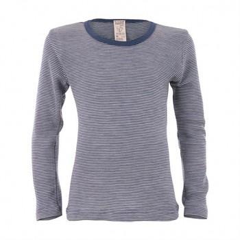 BIRDIE unisex dětské funkční tričko s dlouhými rukávy z bio merino vlny a hedvábí - modrý proužek