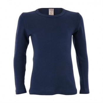 BIRDIE unisex dětské funkční tričko s dlouhými rukávy z bio merino vlny a hedvábí - tmavě modrá