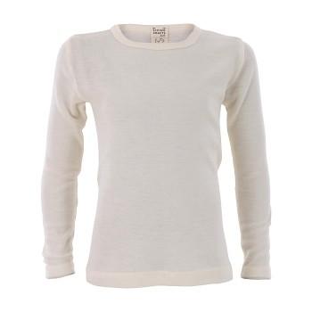 BIRDIE unisex dětské funkční tričko s dlouhými rukávy z bio merino vlny a hedvábí - přírodní