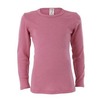 BIRDIE unisex dětské funkční tričko s dlouhými rukávy z bio merino vlny a hedvábí - růžová