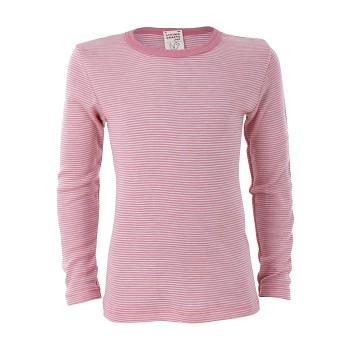 BIRDIE unisex dětské funkční tričko s dlouhými rukávy z bio merino vlny a hedvábí - růžový proužek