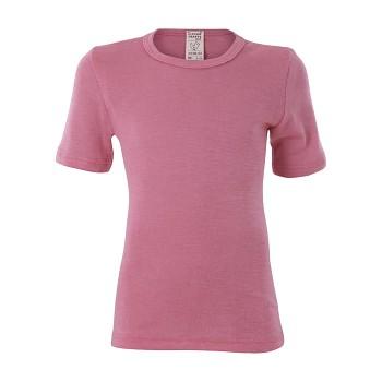 BIRDIE unisex dětské funkční tričko s krátkými rukávy z bio merino vlny a hedvábí - růžová