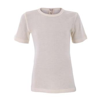 BIRDIE unisex dětské funkční tričko s krátkými rukávy z bio merino vlny a hedvábí - přírodní
