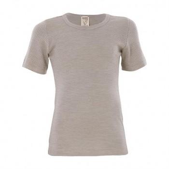BIRDIE unisex dětské funkční tričko s krátkými rukávy z bio merino vlny a hedvábí - přírodní proužek