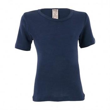 BIRDIE unisex dětské funkční tričko s krátkými rukávy z bio merino vlny a hedvábí - tmavě modrá