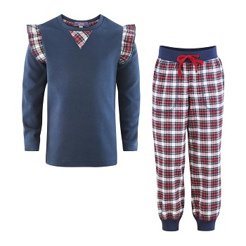 FLAMINGO dívčí flanelové pyžamo ze 100% biobavlny - modrá/kostka