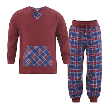 DISH chlapecké flanelové pyžamo ze 100% biobavlny - bordó/kostka