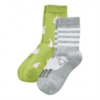 Dětské ponožky z biobavlny (2 páry)  - zelená kiwi / šedá