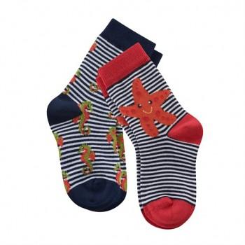 Dětské ponožky z biobavlny (2 páry)  - modrá / červená
