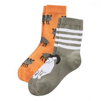 Dětské ponožky z biobavlny (2 páry)  - oranžová / béžová