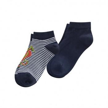Dětské kotníkové ponožky z biobavlny (2 páry)  - tmavě modrá