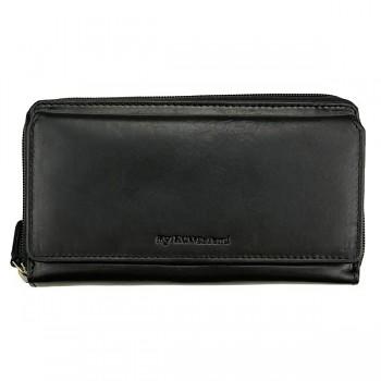 DOUBLE velká kožená peněženka černá