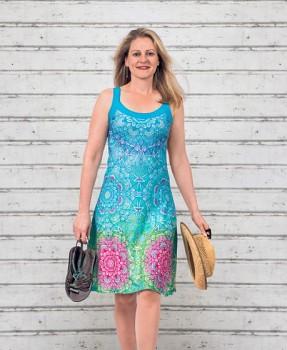 CARRIBEAN Dámské šaty z biobavlny a bambusu s růženínem - modrá