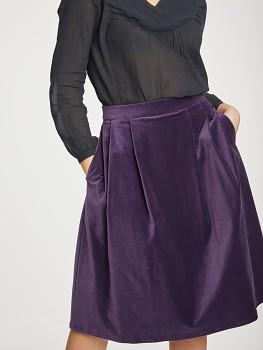 ZILAH dámská sametová sukně z biobavlny - fialová royal