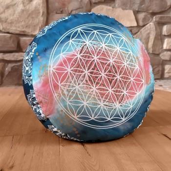 INDIGO meditační polštářek ze 100% biobavlny s růženíny a ametysty - modrá