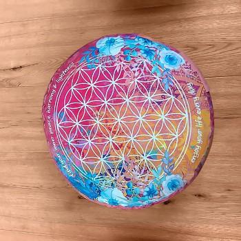 INDIGO meditační polštářek ze 100% biobavlny s růženíny a ametysty - barevná