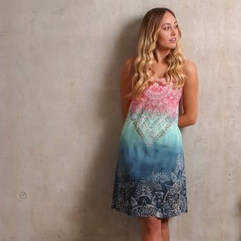 INDIGO Dámské šaty z biobavlny a bambusu s růženínem - modrá