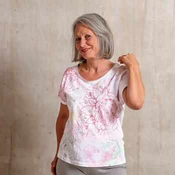 FANCY Dámský top s krátkými rukávy ze 100% biobavlny s růženínem - růžová