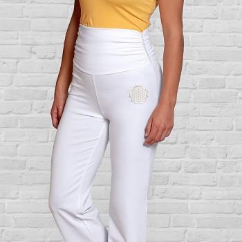 YOGA Dámské úpletové kalhoty na jógu s širokým pasem z biobavlny - bílá