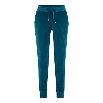 HEDDA dámské plyšové kalhoty ze 100% biobavlny - modrá petrol