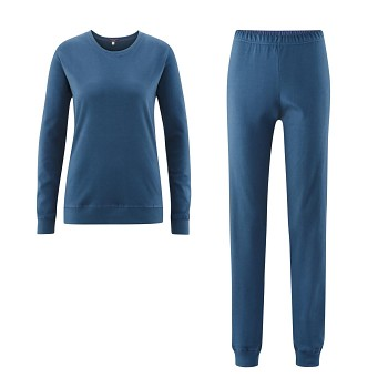 BETTY dámské pyžamo ze 100% biobavlny - modrá shadow