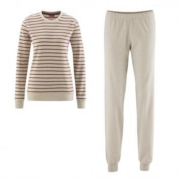 BETTY dámské pyžamo ze 100% biobavlny - alpaka/brusinka