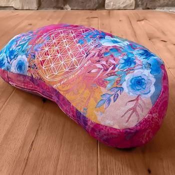 ROSE meditační špaldový polštářek ze 100% biobavlny s růženíny a ametysty
