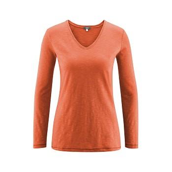 DORA Dámské tričko s dlouhými rukávy ze 100% biobavlny - oranžová jantar