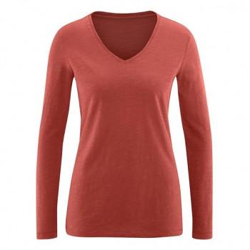 DORA Dámské tričko s dlouhými rukávy ze 100% biobavlny - červená brick