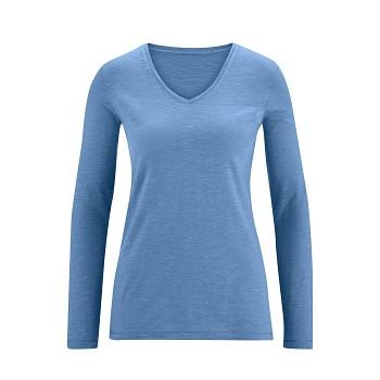 DORA Dámské tričko s dlouhými rukávy ze 100% biobavlny - modrá moon