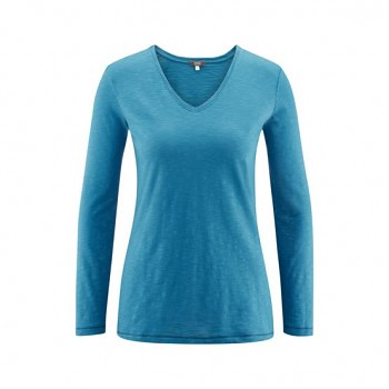 DORA Dámské tričko s dlouhými rukávy ze 100% biobavlny - modrá petrol